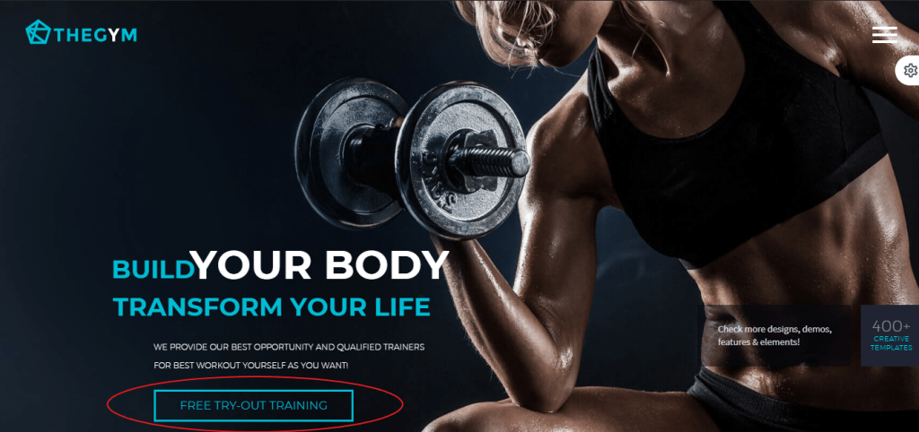Gym Website Marketing CTA
