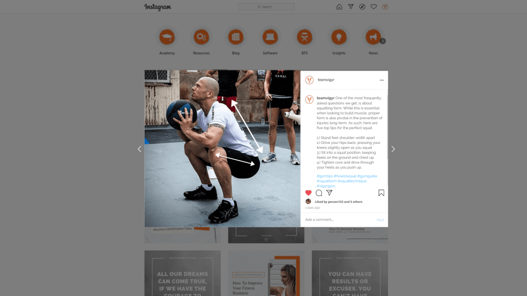 Instagram Gym Tips Post